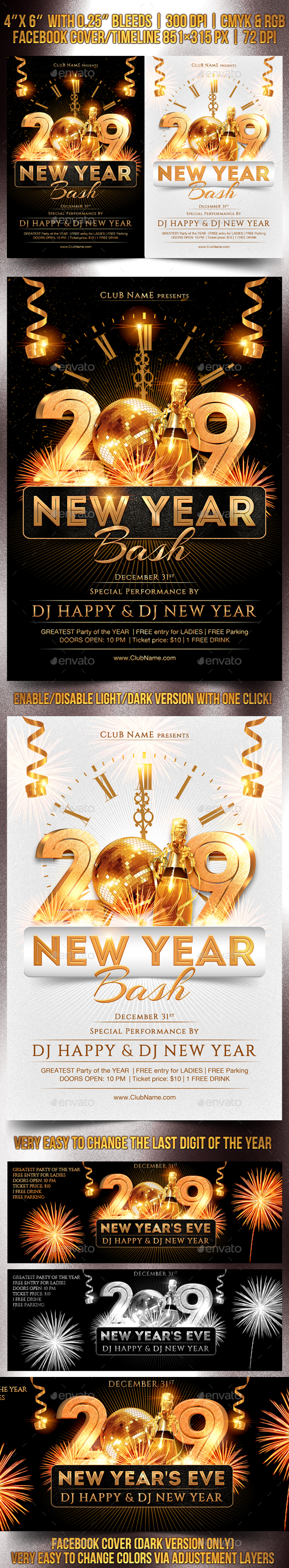 New Year Bash Flyer Template - Clubs & Parties Events