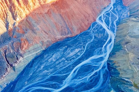aerial view of xinjiang anjihai grand canyon - Stock Photo - Images