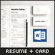 Word CV Resume and Business Card - GraphicRiver Item for Sale