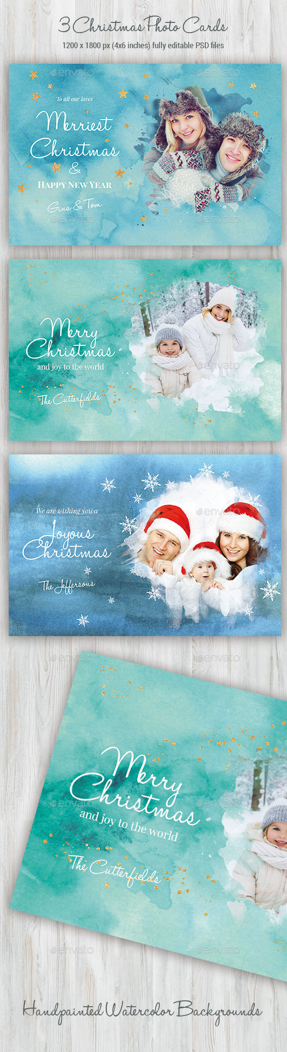 3 Watercolor Christmas Photo Cards - Cards & Invites Print Templates