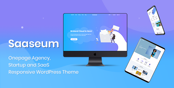 Saaseum - One Page Landing Page Design - Technology PSD Templates