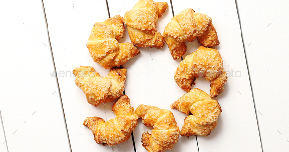 Circle from yummy croissants - Stock Photo - Images