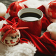 Christmas hats and baubles around hot drink - PhotoDune Item for Sale