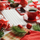 Christmas symbols around devices and hot beverage - PhotoDune Item for Sale