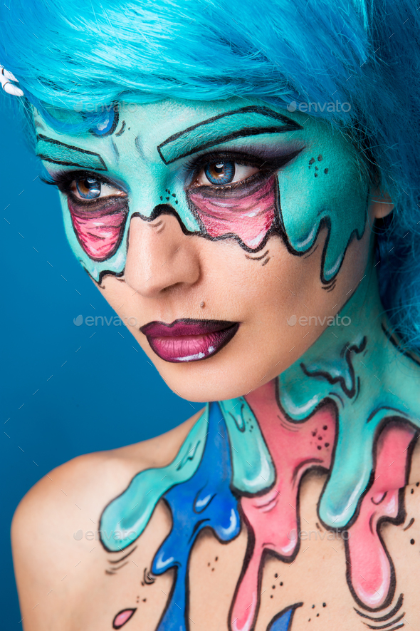 Fashionable zombie girl. Portrait of a pin-up zombie woman. Body-painting project. Halloween make-up - Stock Photo - Images
