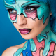 Fashionable zombie girl. Portrait of a pin-up zombie woman. Body-painting project. Halloween make-up - PhotoDune Item for Sale