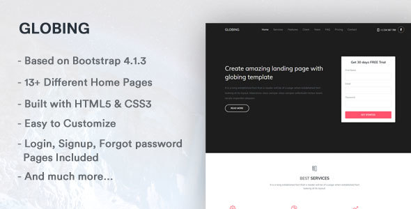 Globing - Responsive Bootstrap 4 Landing Page - Landing Pages Marketing