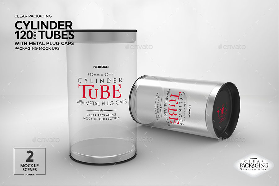 Cylinder 120mm PVC Tube Packaging with Metal Caps