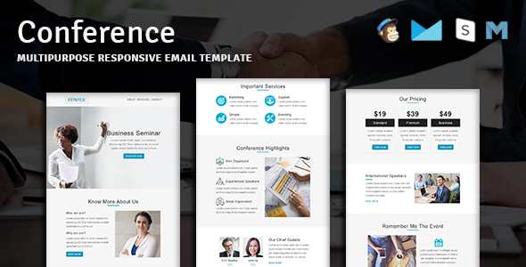 Conference - Multipurpose Responsive Email Template With Online StampReady Builder Access - Newsletters Email Templates