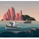 Fisherman Ship or Boat at Sunset - GraphicRiver Item for Sale