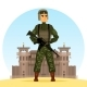 Army Soldier with M16 Gun Near Fort or Prison - GraphicRiver Item for Sale