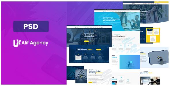 Alif Agency PSD Template - Portfolio Creative