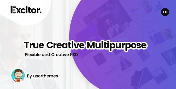 Excitor - Creative & Clean Multipurpose Business, Portfolio, Agencies PSD Template