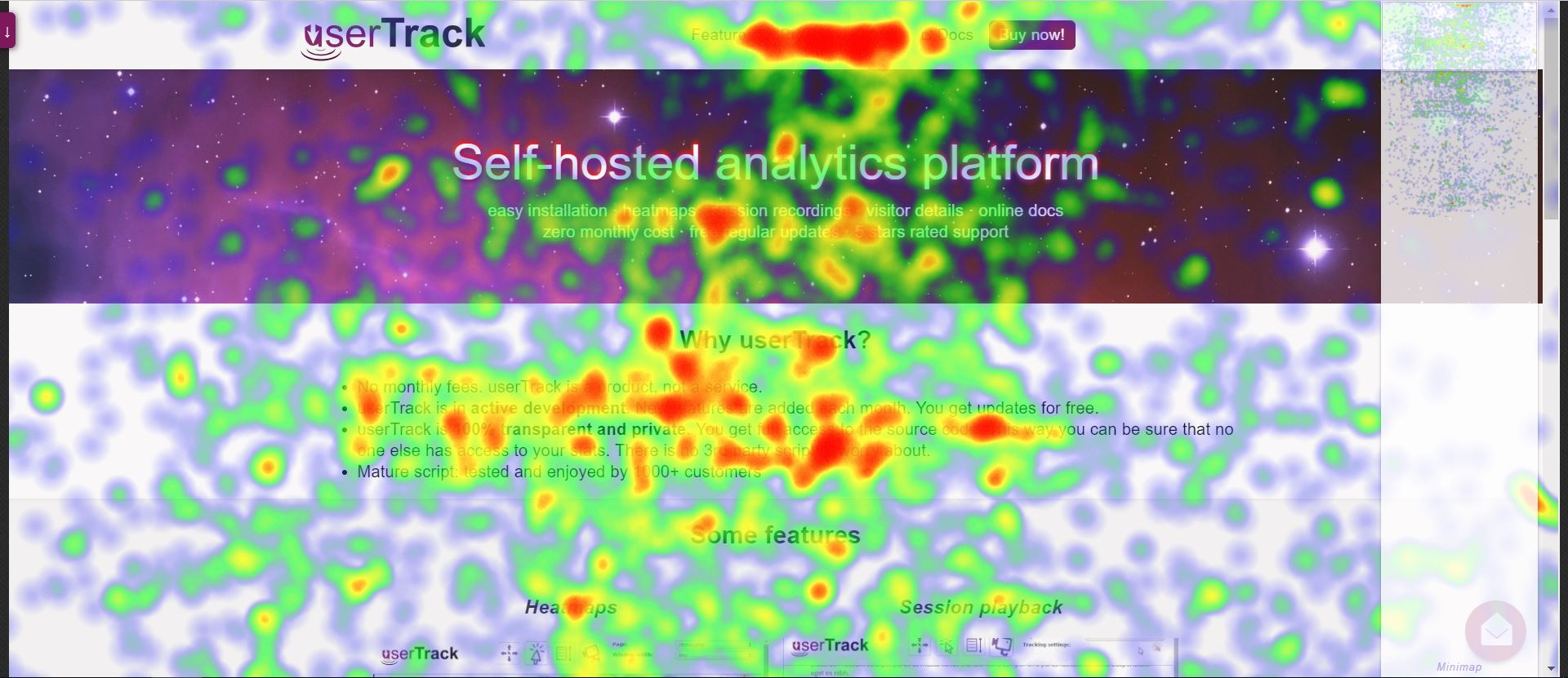 userTrack - Private Analytics with Mouse Heatmaps and Full Visitor Recording