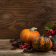 Fall rustic decor with red berry in silver kettle, copy space - PhotoDune Item for Sale