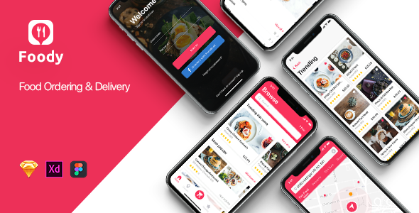 Foody mobile App UI Kit for Sketch