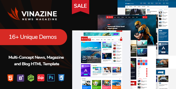 Vinazine - Multi-concept News, Magazine HTML Template - Entertainment Site Templates