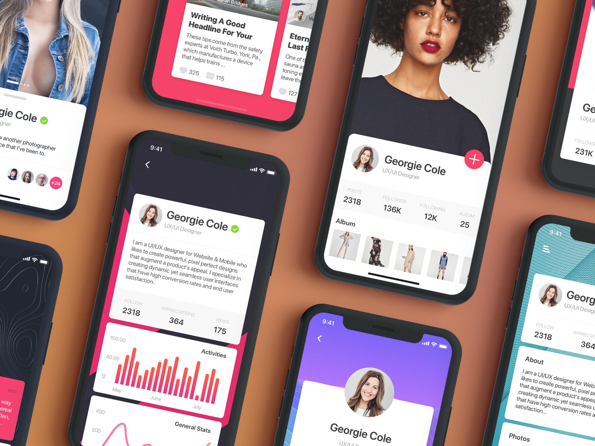 Farah - Profile UI Kit for Sketch App