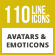 110 Avatars & Emoticons Line Inverted Icons - GraphicRiver Item for Sale