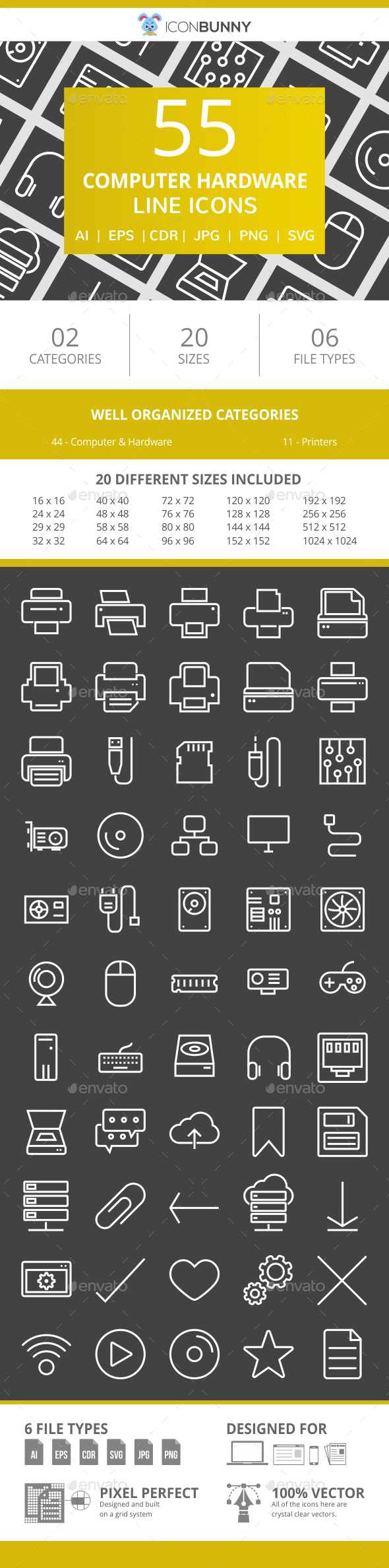 55 Computer & hardware Line Inverted Icons - Icons