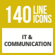 141 IT & Communication Line Inverted Icons - GraphicRiver Item for Sale