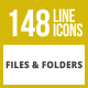 148 Files & Folders Line Inverted Icons - GraphicRiver Item for Sale