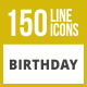 150 Birthday Line Inverted Icons - GraphicRiver Item for Sale