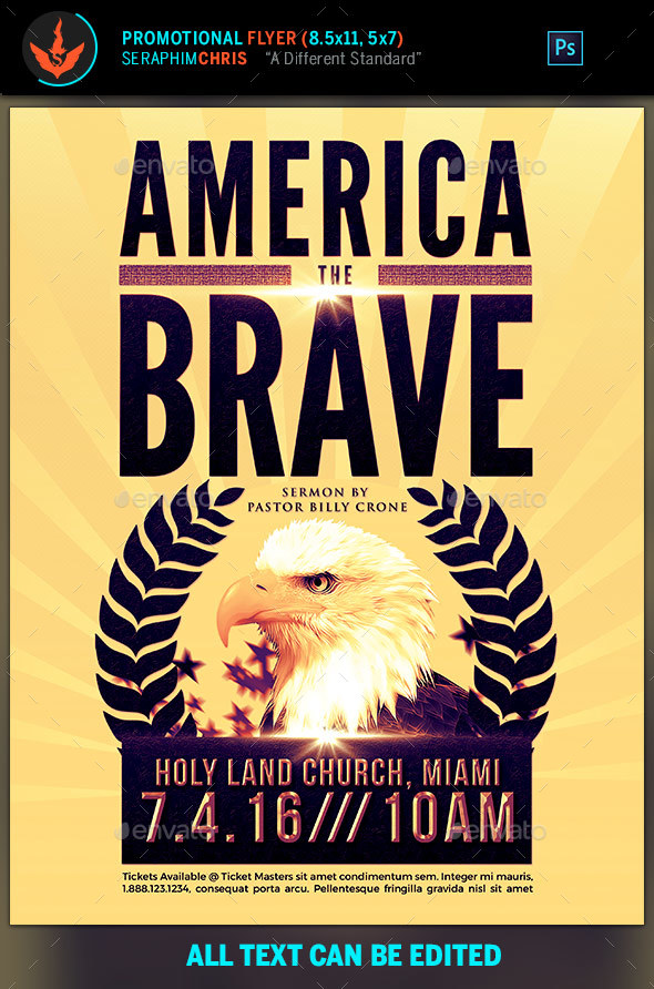 America The Brave Political Flyer Template - Church Flyers