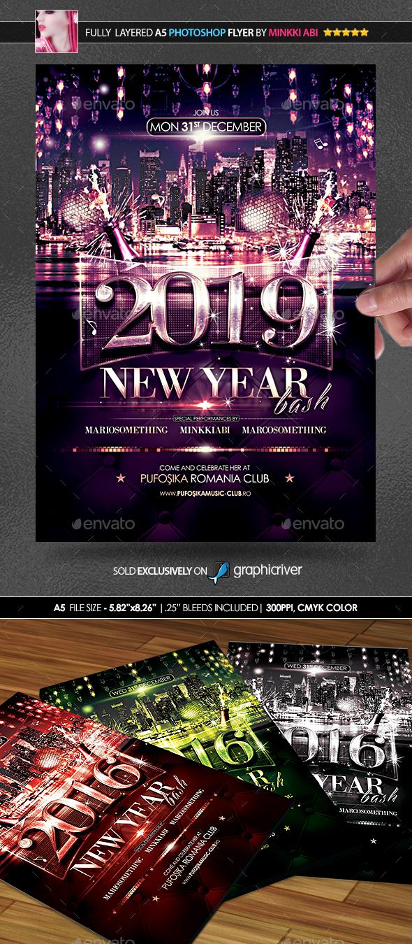 new year bash poster  flyer by minkki