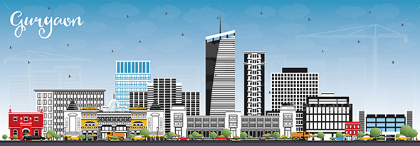 Gurgaon India City Skyline with Gray Buildings and Blue Sky - Buildings Objects