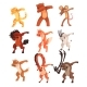 Various Animals Standing in Dub Dancing Poses Set - GraphicRiver Item for Sale