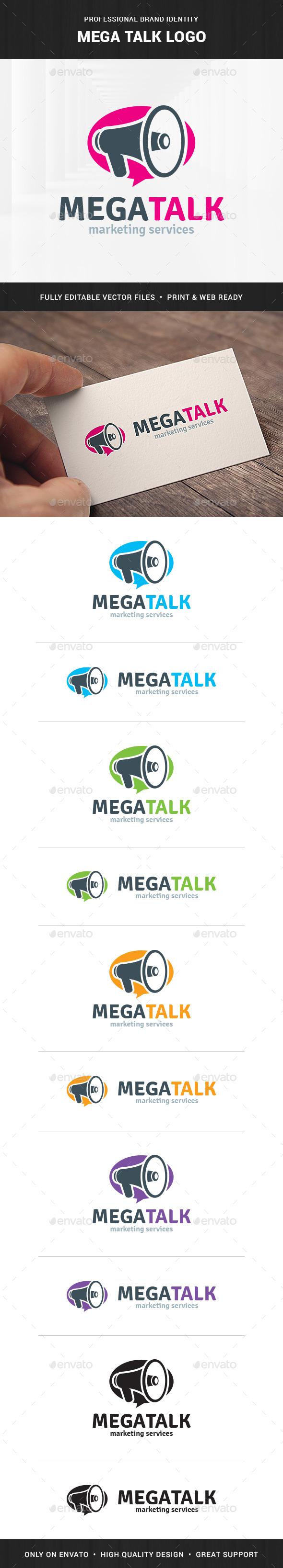 Mega Talk - Megaphone Logo Template - Objects Logo Templates