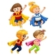 Superhero Kids Play Role on White Background - GraphicRiver Item for Sale