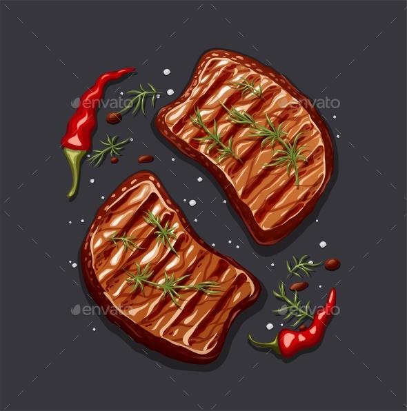 Two Piece of Meat Steak - Food Objects