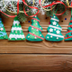 Handmade rustic felt Christmas tree decorations as background on - PhotoDune Item for Sale