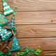 Handmade rustic green felt Christmas tree decorations and scisso - PhotoDune Item for Sale