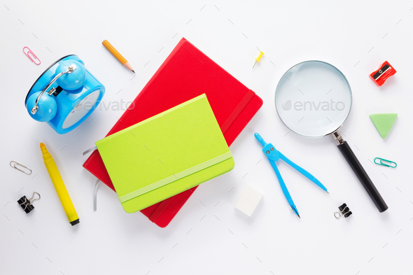 school accessories and  notebook or book - Stock Photo - Images
