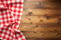checked table cloth at wooden  background - PhotoDune Item for Sale