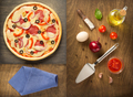 pizza and food ingredients at wooden table - PhotoDune Item for Sale