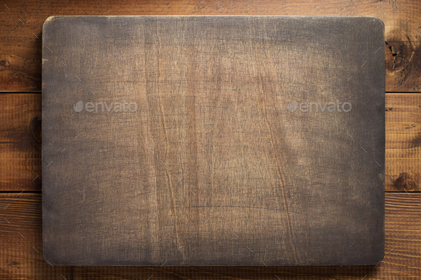 dark sign board at wooden background - Stock Photo - Images