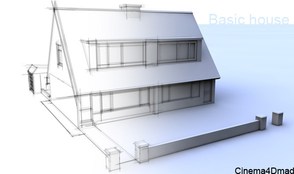 3D basic house cinema 4d - 3DOcean Item for Sale