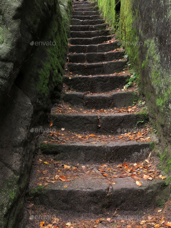 Stone stairs carved in rock - Stock Photo - Images