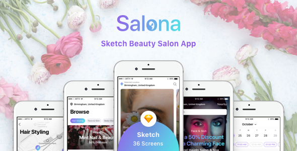 Salona - Sketch Beauty Salon App - Sketch Templates