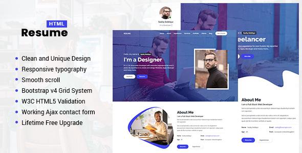 Resume - Responsive Personal Portfolio / CV Template - Personal Landing Pages