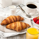 Breakfast with croissants, black coffee, orange juice and strawberries - PhotoDune Item for Sale