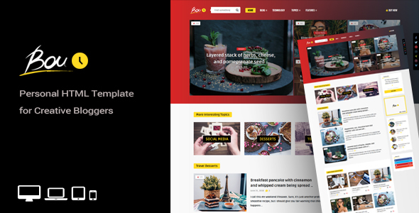 Bouplay - Personal HTML Template for Creative Bloggers Free Download | Nulled