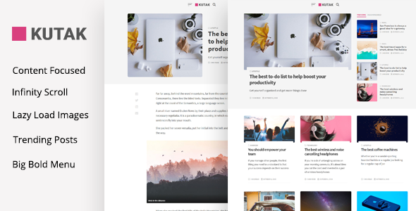 Kutak - Creative Personal Blog & Minimal Magazine WordPress Theme