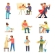 People and Their Hobbies Vector Flat Illustration - GraphicRiver Item for Sale