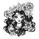 Girl with Flowers Leaves and Pomegranate Hair - GraphicRiver Item for Sale