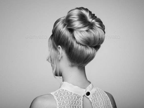 Blonde girl with elegant and shiny hairstyle - Stock Photo - Images